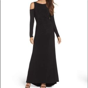 NWT Vince Camuto Black Cold Shoulder Evening Gown